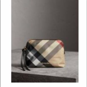 Burberry Medium Zip-top Check Technical pouch.